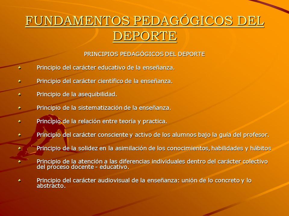 FUNDAMENTOS PEDAGÓGICOS DEL DEPORTE PRINCIPIOS PEDAGÓGICOS DEL DEPORTE Principio del carácter educativo de la enseñanza. Principio del carácter cientí