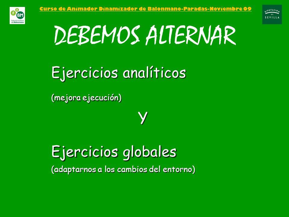Curso de Animador Dinamizador de Balonmano-Paradas-Noviembre 09 DEBEMOS ALTERNAR Ejercicios analíticos (mejora ejecución) Y Ejercicios globales (adapt