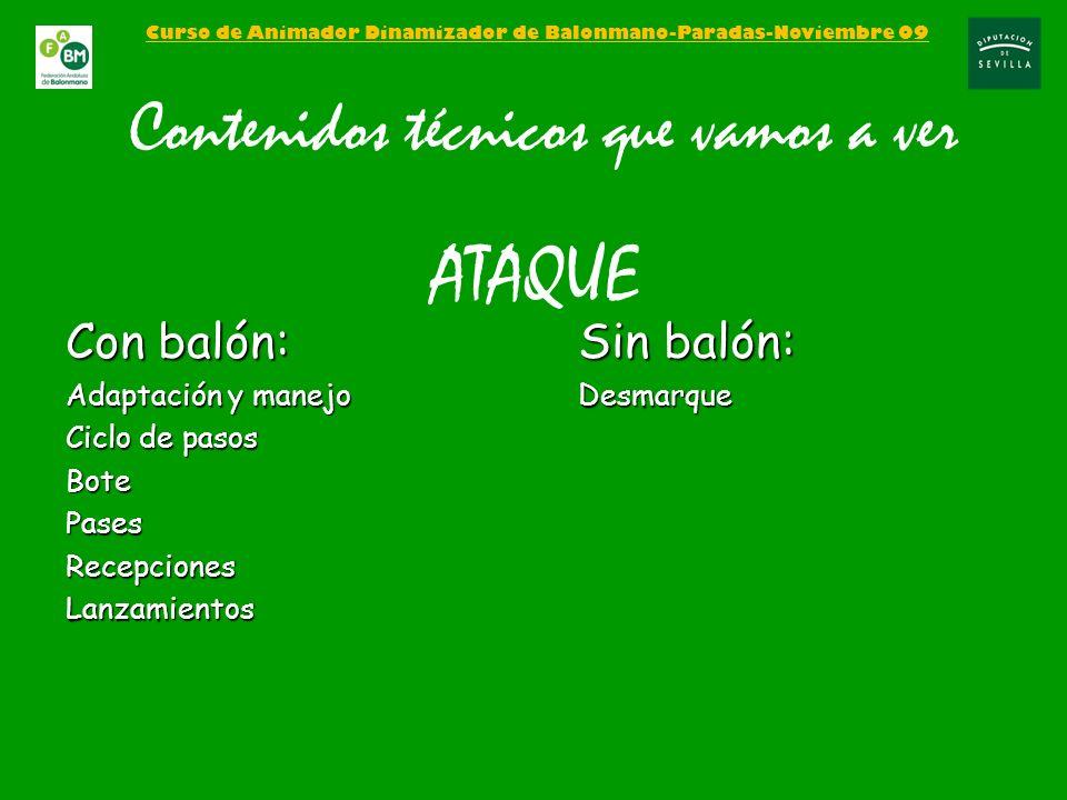 Curso de Animador Dinamizador de Balonmano-Paradas-Noviembre 09 Contenidos técnicos que vamos a ver ATAQUE Con balón: Adaptación y manejo Ciclo de pas