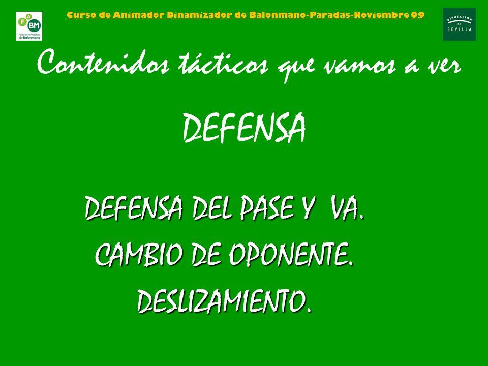 Curso de Animador Dinamizador de Balonmano-Paradas-Noviembre 09 Contenidos tácticos que vamos a ver DEFENSA DEFENSA DEL PASE Y VA. CAMBIO DE OPONENTE.
