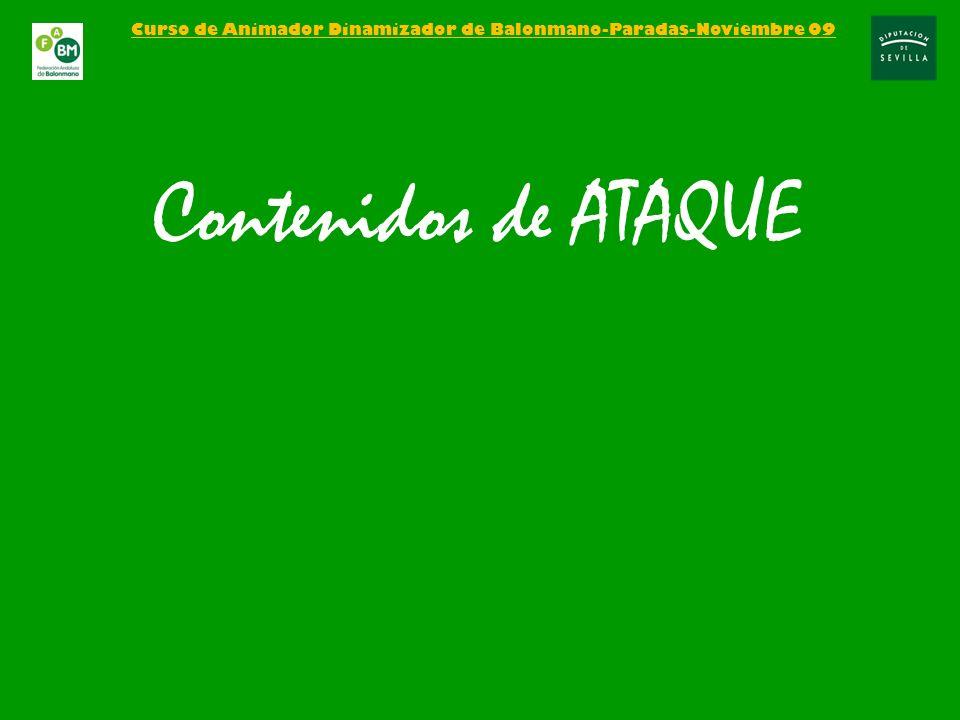 Curso de Animador Dinamizador de Balonmano-Paradas-Noviembre 09 Contenidos de ATAQUE