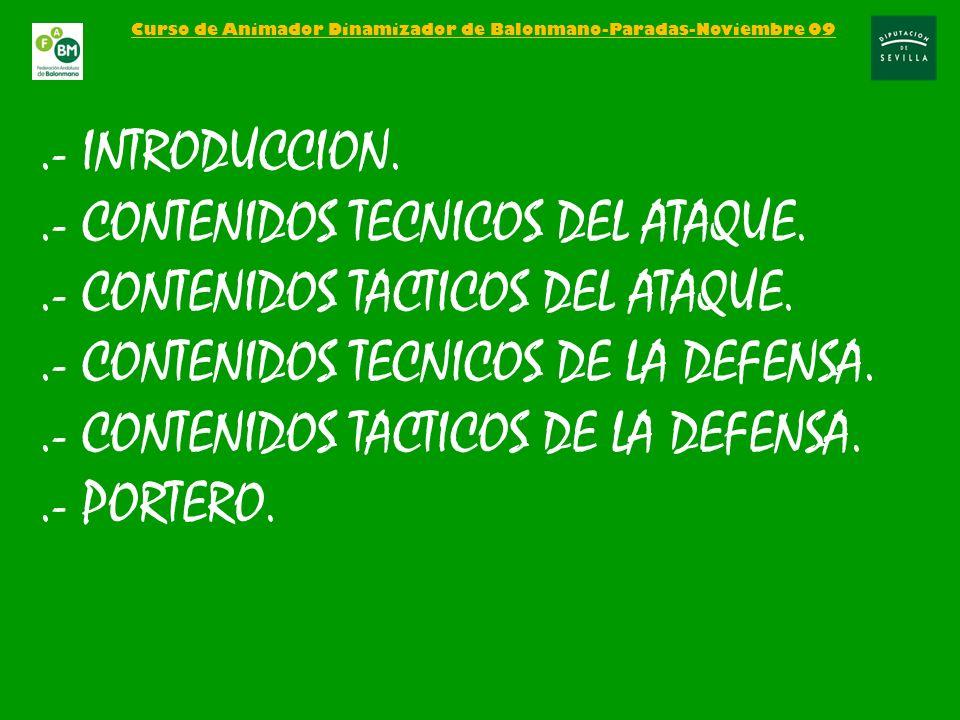 Curso de Animador Dinamizador de Balonmano-Paradas-Noviembre 09.- INTRODUCCION..- CONTENIDOS TECNICOS DEL ATAQUE..- CONTENIDOS TACTICOS DEL ATAQUE..-