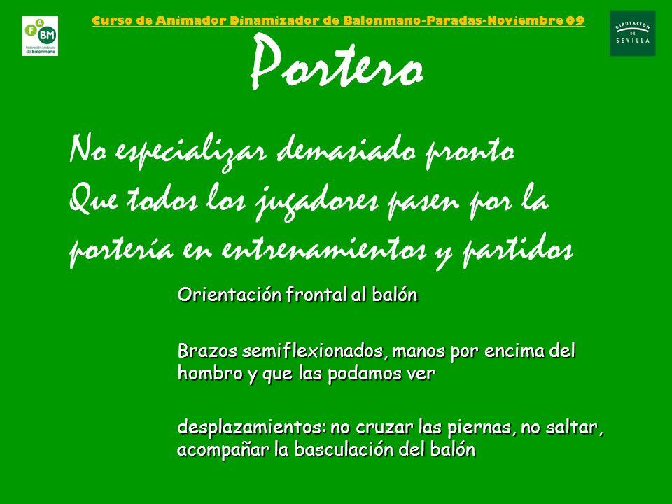 Curso de Animador Dinamizador de Balonmano-Paradas-Noviembre 09 Portero No especializar demasiado pronto Que todos los jugadores pasen por la portería