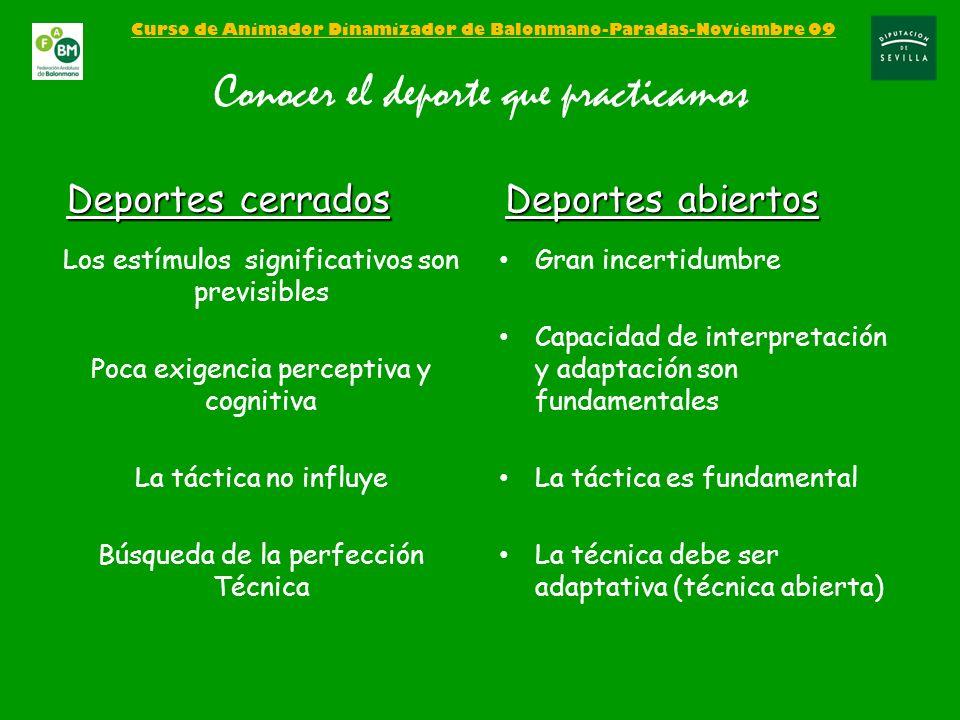 Curso de Animador Dinamizador de Balonmano-Paradas-Noviembre 09 Conocer el deporte que practicamos Los estímulos significativos son previsibles Poca e