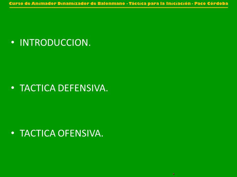 INTRODUCCION. TACTICA DEFENSIVA. TACTICA OFENSIVA. Curso de Animador Dinamizador de Balonmano - Táctica para la Iniciación - Paco Córdoba.