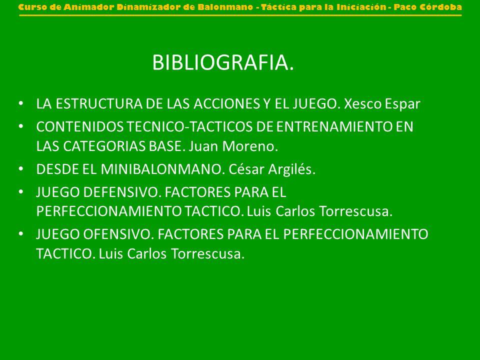 BIBLIOGRAFIA. LA ESTRUCTURA DE LAS ACCIONES Y EL JUEGO. Xesco Espar CONTENIDOS TECNICO-TACTICOS DE ENTRENAMIENTO EN LAS CATEGORIAS BASE. Juan Moreno.