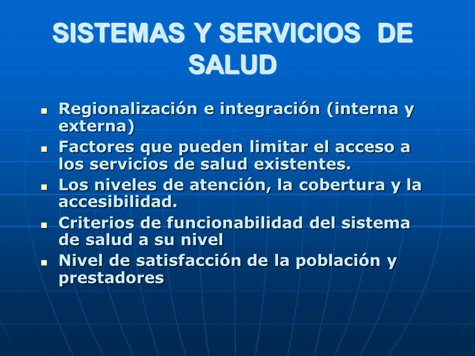 SISTEMAS Y SERVICIOS DE SALUD Regionalización e integración (interna y externa) Regionalización e integración (interna y externa) Factores que pueden limitar el acceso a los servicios de salud existentes.