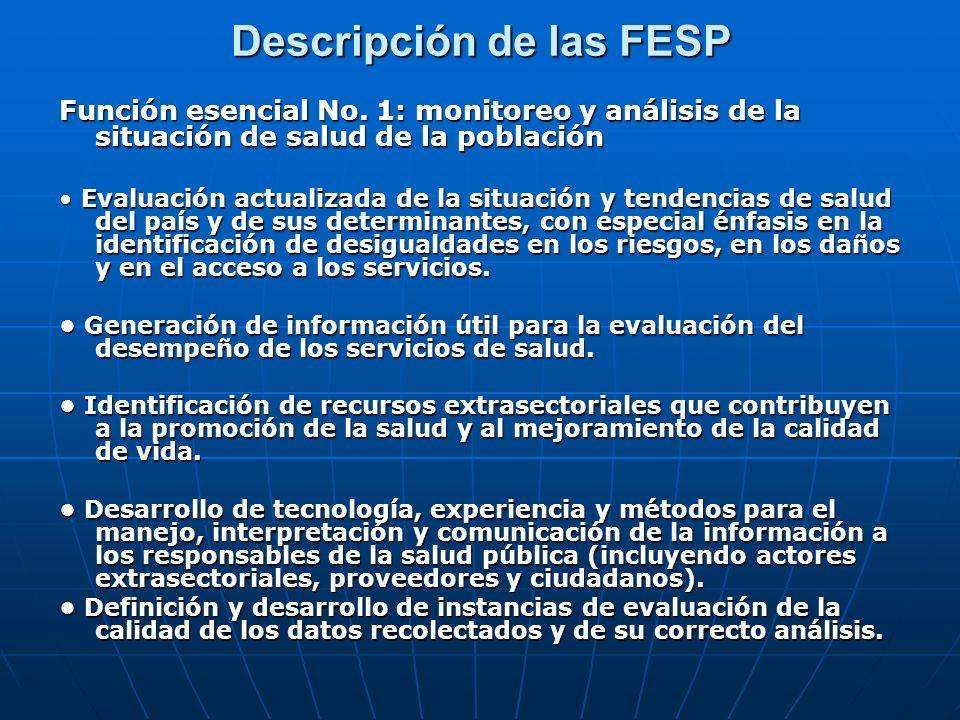 Descripción de las FESP Función esencial No.