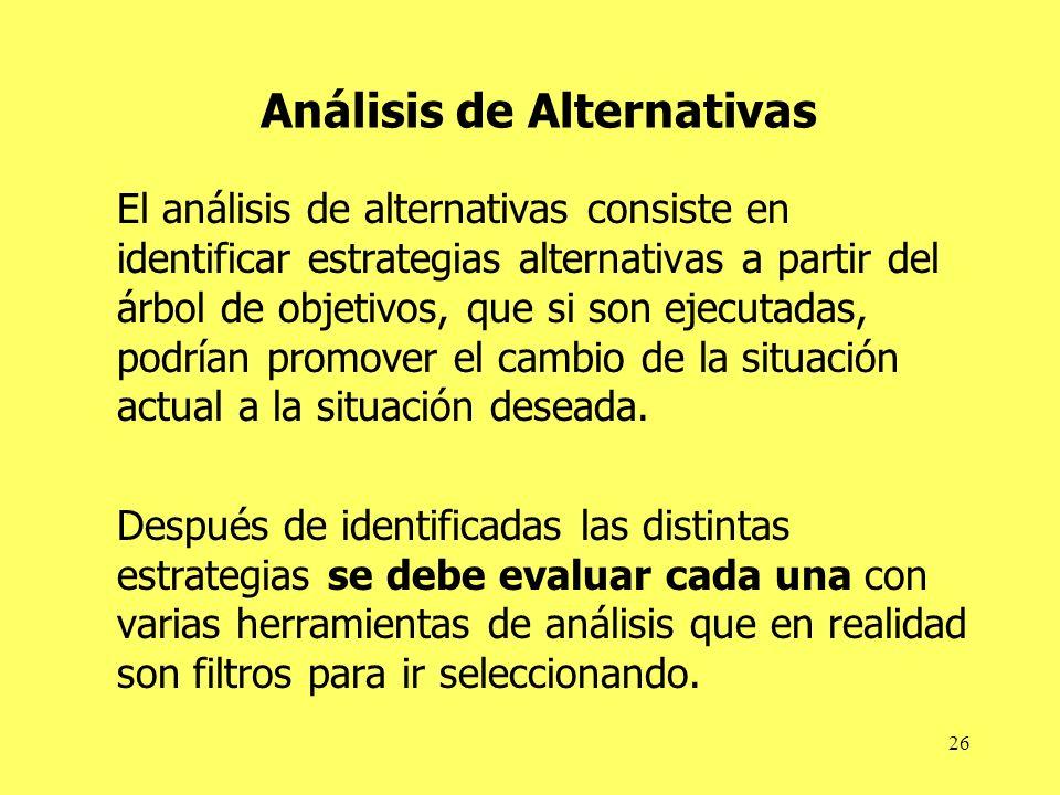 26 Análisis de Alternativas El análisis de alternativas consiste en identificar estrategias alternativas a partir del árbol de objetivos, que si son e
