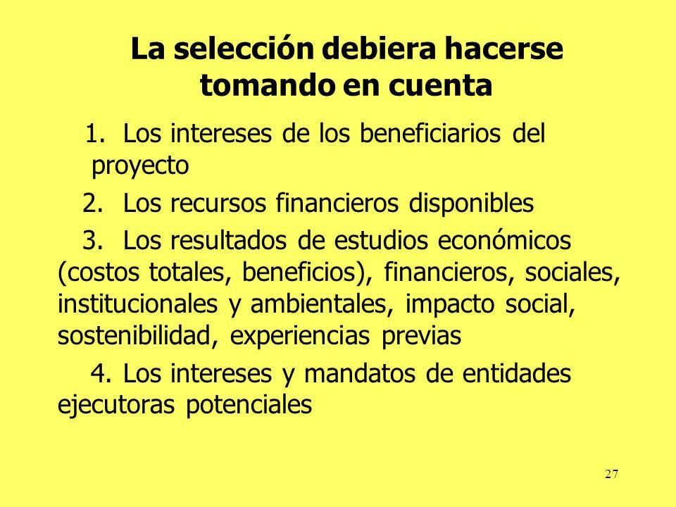 27 La selección debiera hacerse tomando en cuenta 1.Los intereses de los beneficiarios del proyecto 2.Los recursos financieros disponibles 3.Los resul