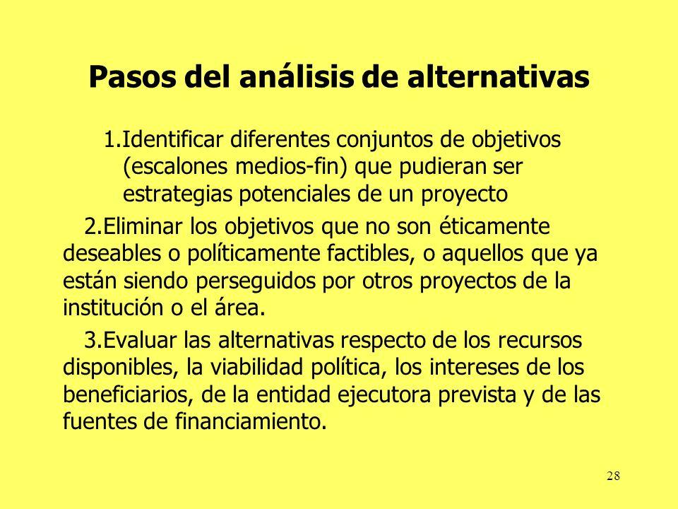 28 Pasos del análisis de alternativas 1.Identificar diferentes conjuntos de objetivos (escalones medios-fin) que pudieran ser estrategias potenciales