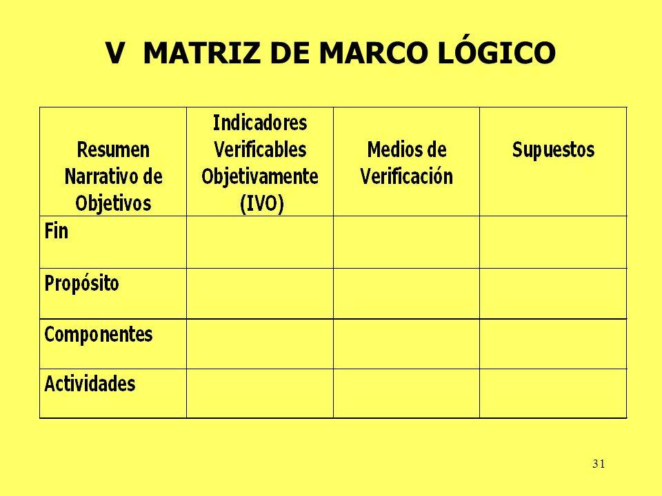 31 V MATRIZ DE MARCO LÓGICO