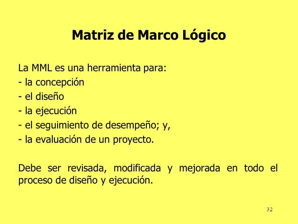 32 Matriz de Marco Lógico La MML es una herramienta para: - la concepción - el diseño - la ejecución - el seguimiento de desempeño; y, - la evaluación