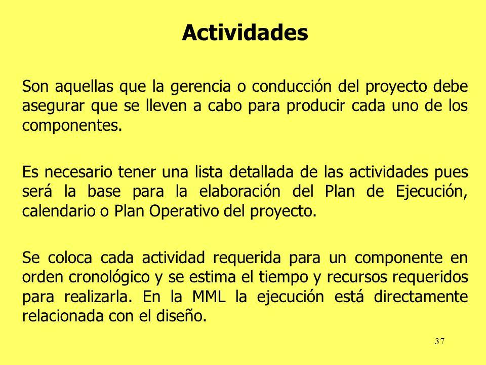 37 Actividades Son aquellas que la gerencia o conducción del proyecto debe asegurar que se lleven a cabo para producir cada uno de los componentes. Es