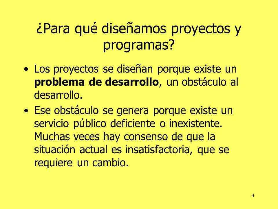 4 ¿Para qué diseñamos proyectos y programas? Los proyectos se diseñan porque existe un problema de desarrollo, un obstáculo al desarrollo. Ese obstácu