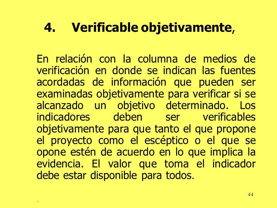 44 4.Verificable objetivamente, En relación con la columna de medios de verificación en donde se indican las fuentes acordadas de información que pued