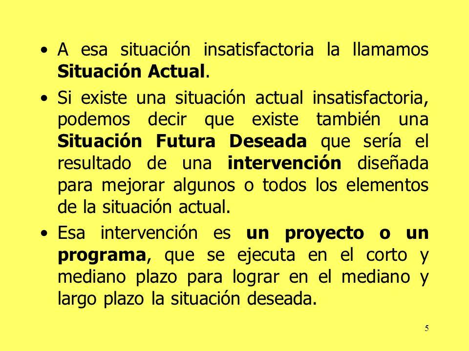 5 A esa situación insatisfactoria la llamamos Situación Actual. Si existe una situación actual insatisfactoria, podemos decir que existe también una S