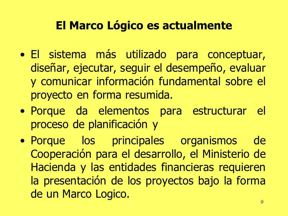 9 El Marco Lógico es actualmente El sistema más utilizado para conceptuar, diseñar, ejecutar, seguir el desempeño, evaluar y comunicar información fun