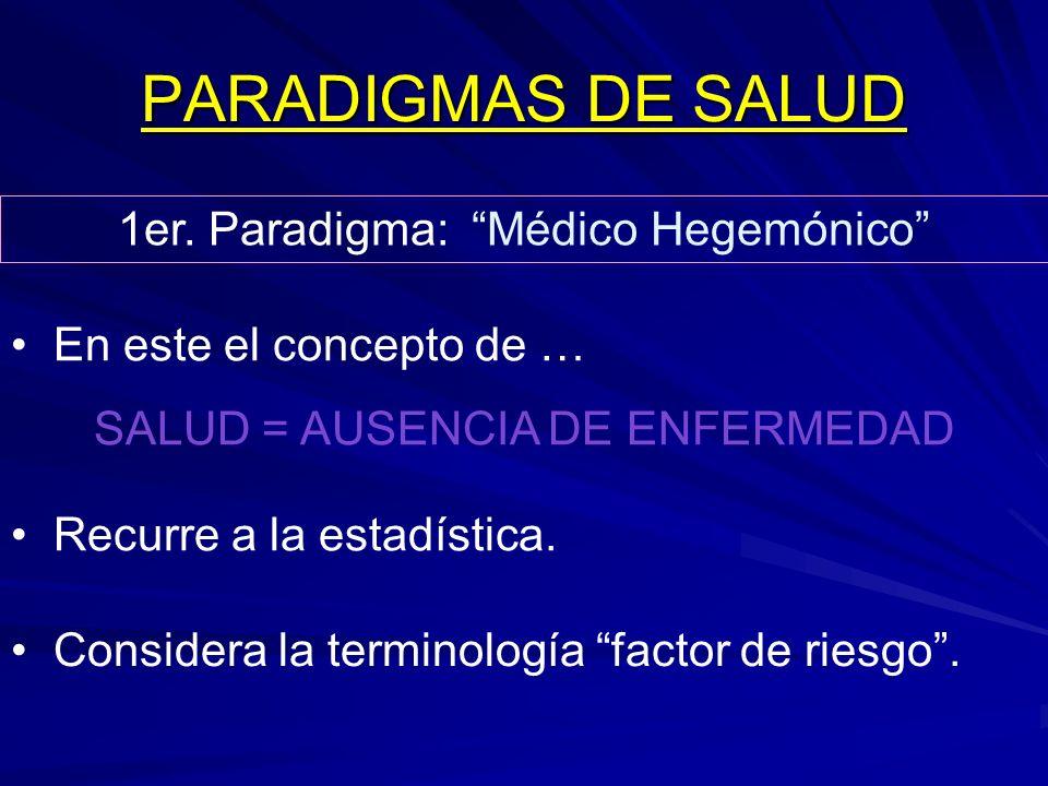 PARADIGMAS DE SALUD 1er. Paradigma: Médico Hegemónico En este el concepto de … SALUD = AUSENCIA DE ENFERMEDAD Recurre a la estadística. Considera la t