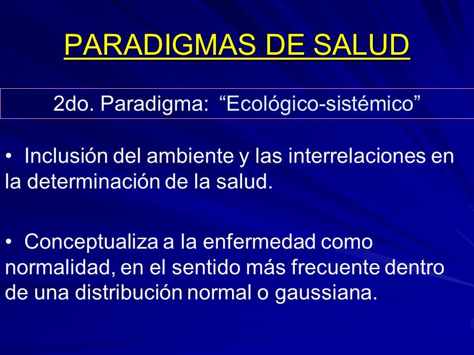 PARADIGMAS DE SALUD 2do. Paradigma: Ecológico-sistémico Inclusión del ambiente y las interrelaciones en la determinación de la salud. Conceptualiza a
