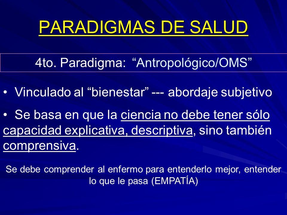 PARADIGMAS DE SALUD 4to. Paradigma: Antropológico/OMS Vinculado al bienestar --- abordaje subjetivo Se basa en que la ciencia no debe tener sólo capac