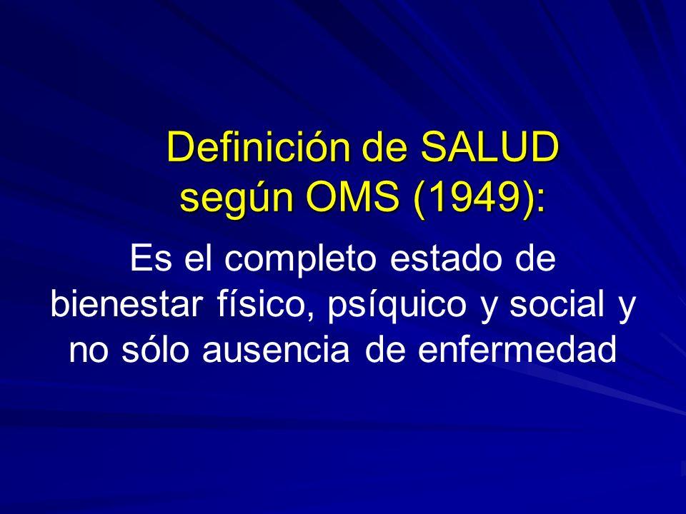 Definición de SALUD según OMS (1949): Es el completo estado de bienestar físico, psíquico y social y no sólo ausencia de enfermedad