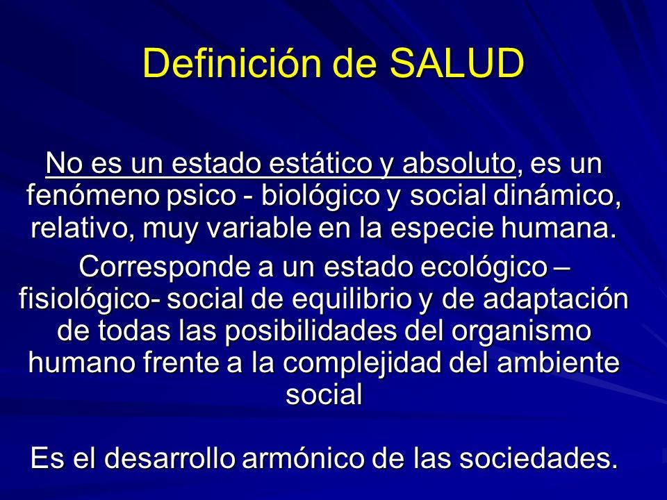 Definición de SALUD No es un estado estático y absoluto, es un fenómeno psico - biológico y social dinámico, relativo, muy variable en la especie huma