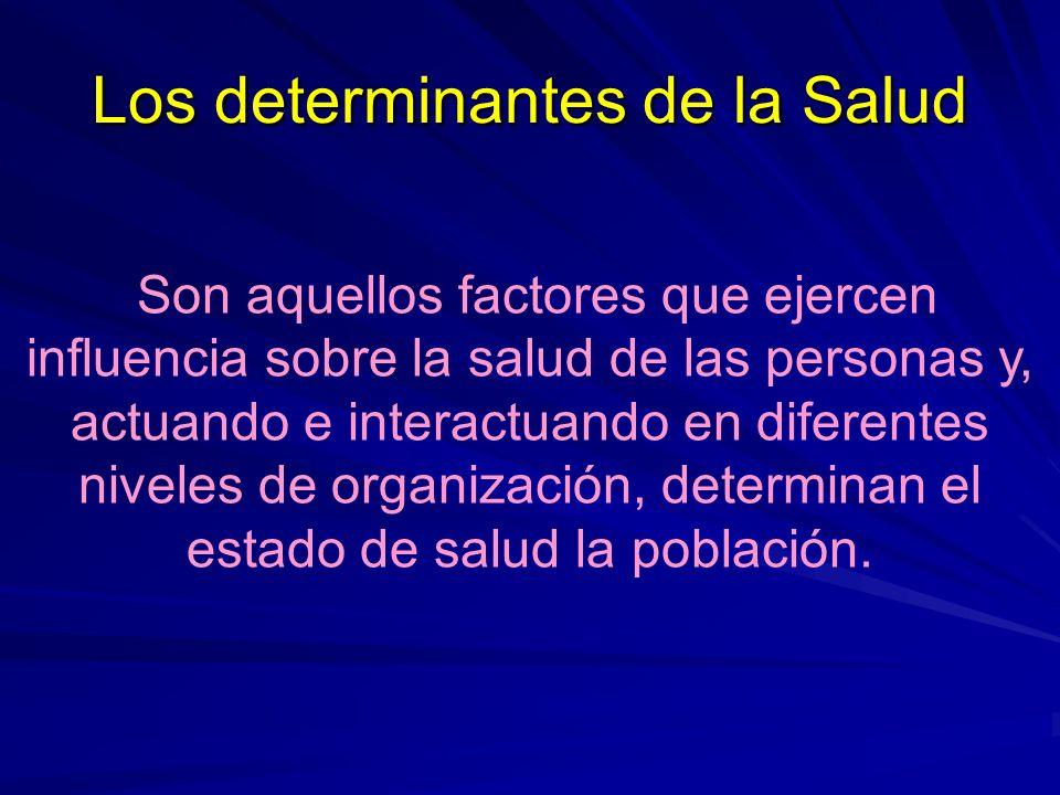 Los determinantes de la Salud Son aquellos factores que ejercen influencia sobre la salud de las personas y, actuando e interactuando en diferentes ni