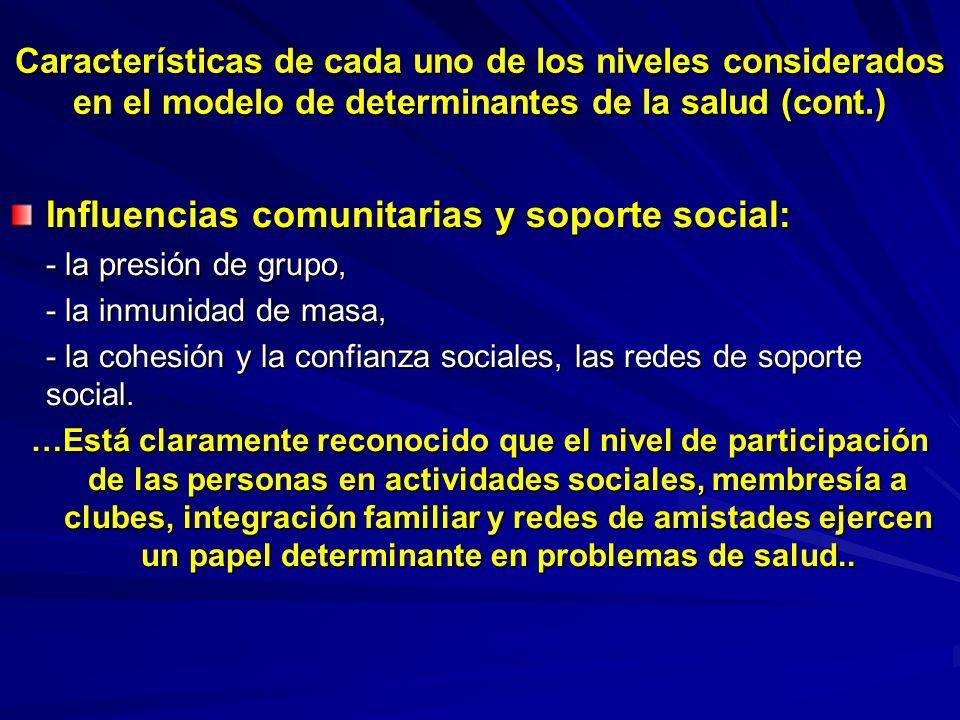 Características de cada uno de los niveles considerados en el modelo de determinantes de la salud (cont.) Influencias comunitarias y soporte social: -