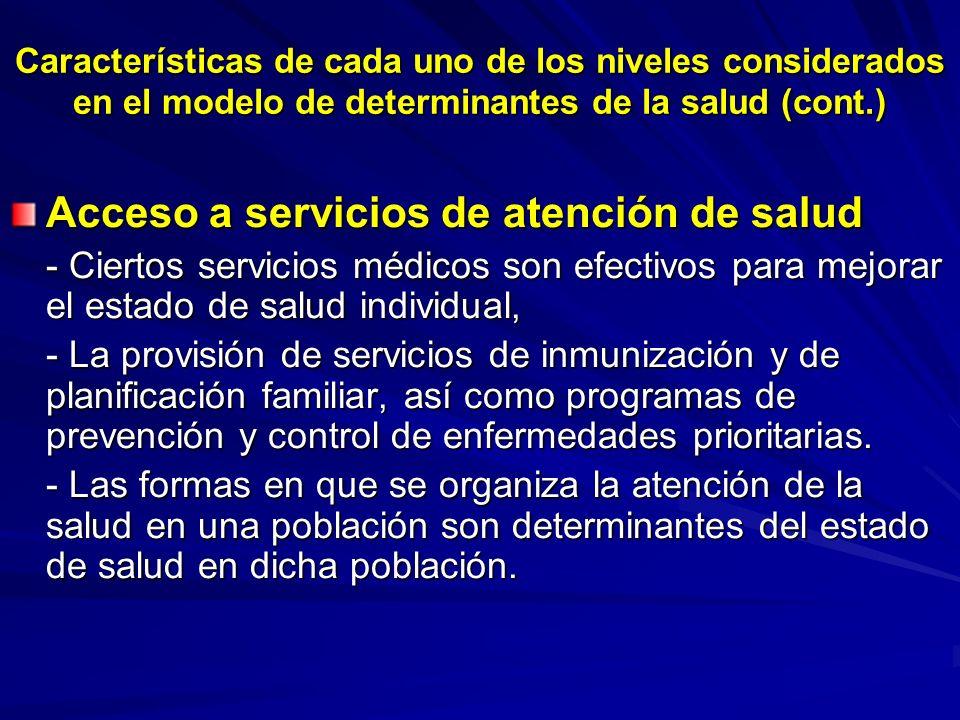 Características de cada uno de los niveles considerados en el modelo de determinantes de la salud (cont.) Acceso a servicios de atención de salud - Ci