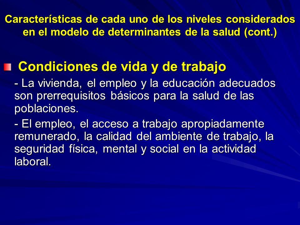 Características de cada uno de los niveles considerados en el modelo de determinantes de la salud (cont.) Condiciones de vida y de trabajo Condiciones
