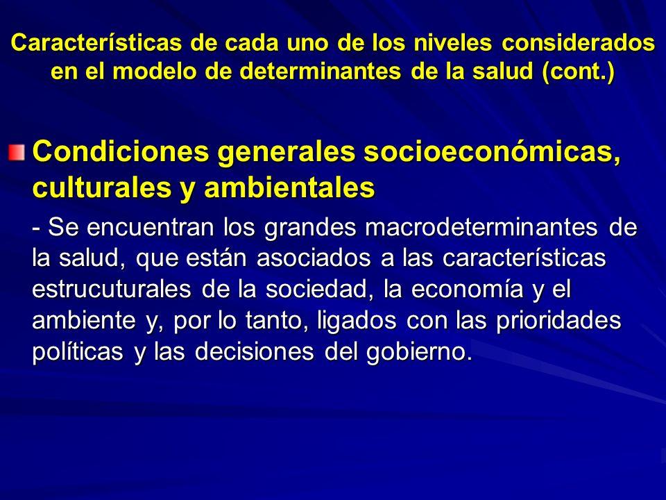 Características de cada uno de los niveles considerados en el modelo de determinantes de la salud (cont.) Condiciones generales socioeconómicas, cultu