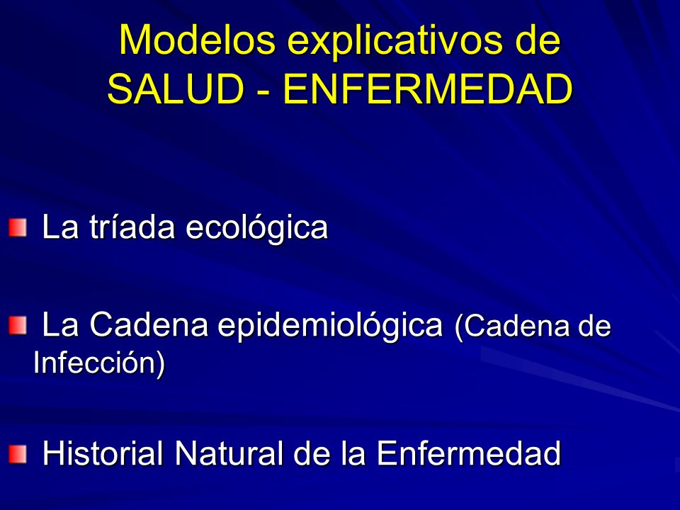 Modelos explicativos de SALUD - ENFERMEDAD La tríada ecológica La tríada ecológica La Cadena epidemiológica (Cadena de Infección) La Cadena epidemioló