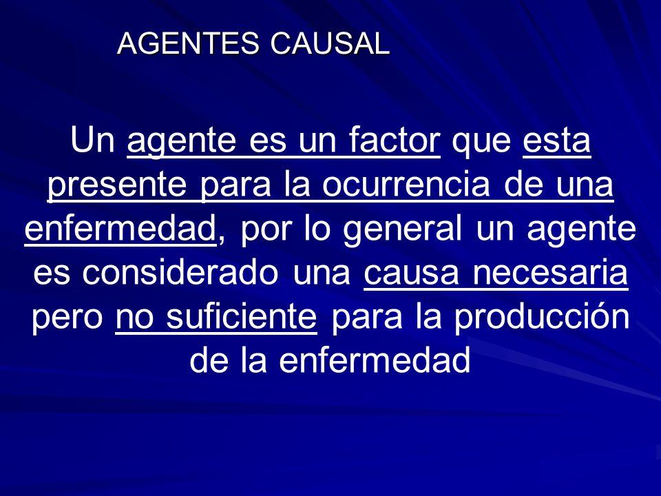 AGENTES CAUSAL Un agente es un factor que esta presente para la ocurrencia de una enfermedad, por lo general un agente es considerado una causa necesa