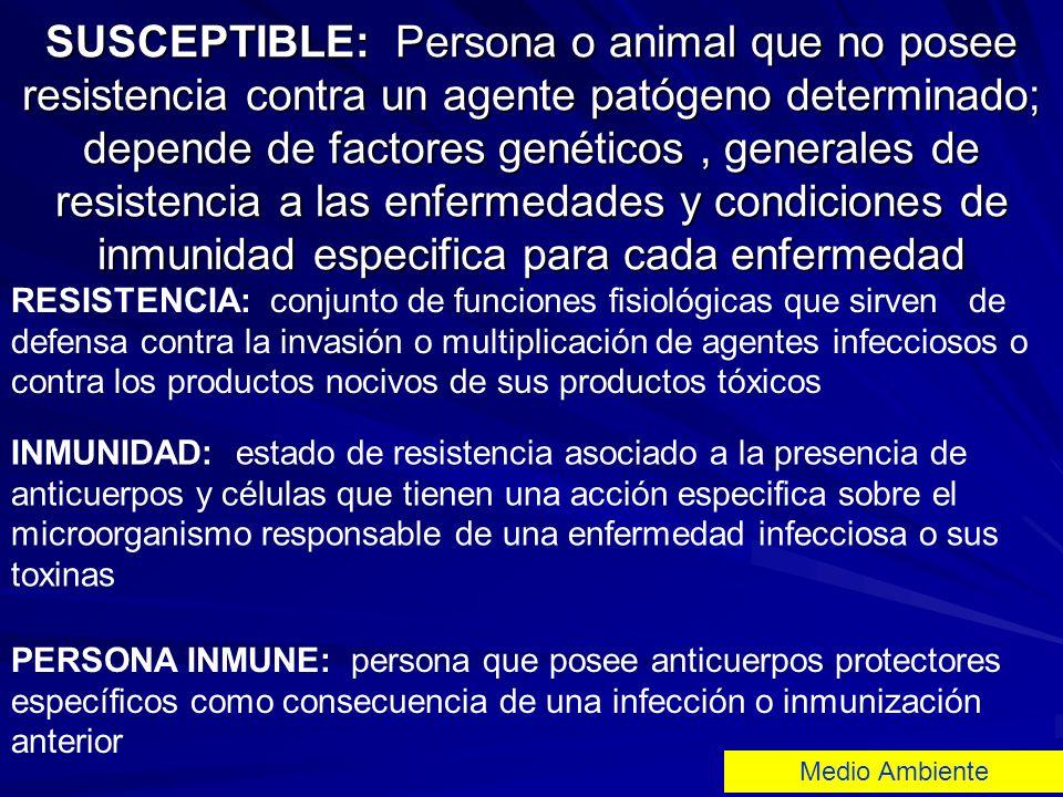 SUSCEPTIBLE: Persona o animal que no posee resistencia contra un agente patógeno determinado; depende de factores genéticos, generales de resistencia