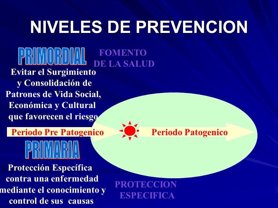 NIVELES DE PREVENCION Periodo Pre Patogenico FOMENTO DE LA SALUD Evitar el Surgimiento y Consolidación de Patrones de Vida Social, Económica y Cultura