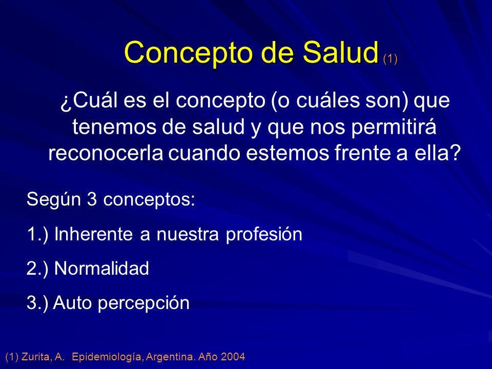 Concepto de Salud (1) Según 3 conceptos: 1.) Inherente a nuestra profesión 2.) Normalidad 3.) Auto percepción ¿Cuál es el concepto (o cuáles son) que