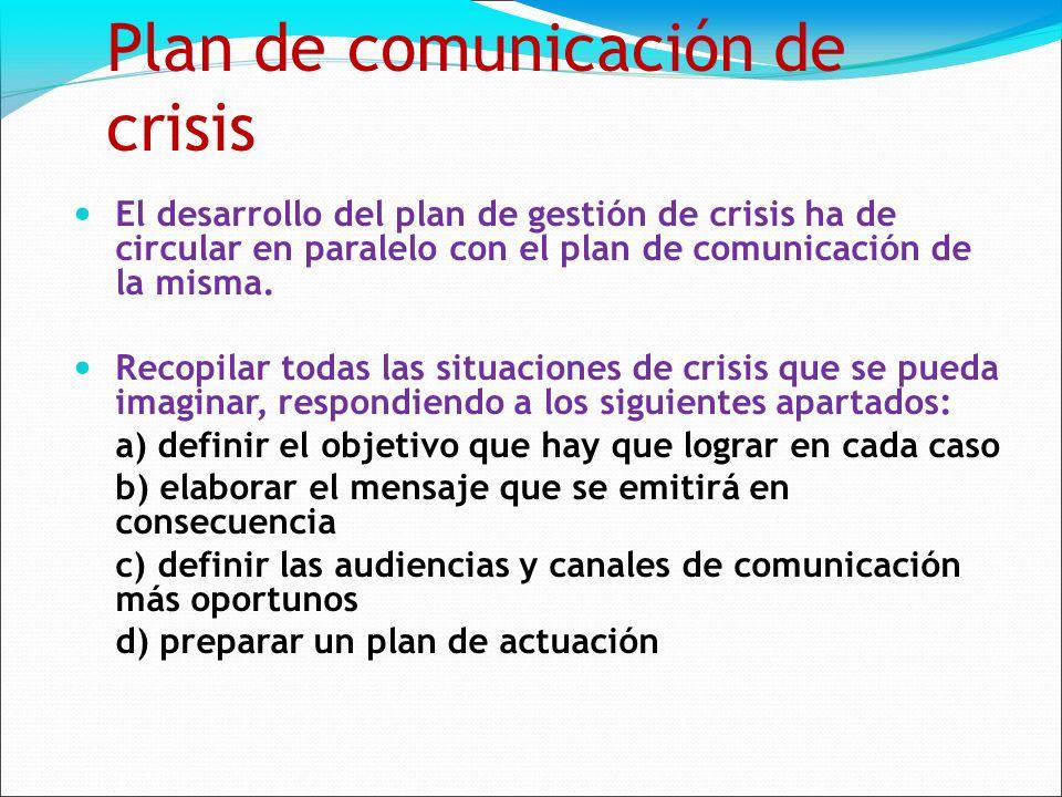 Plan de comunicación de crisis El desarrollo del plan de gestión de crisis ha de circular en paralelo con el plan de comunicación de la misma.