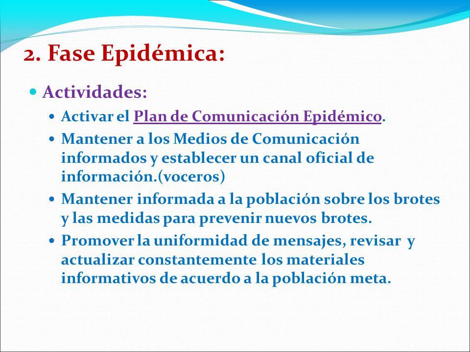 2.Fase Epidémica: Actividades: Activar el Plan de Comunicación Epidémico.