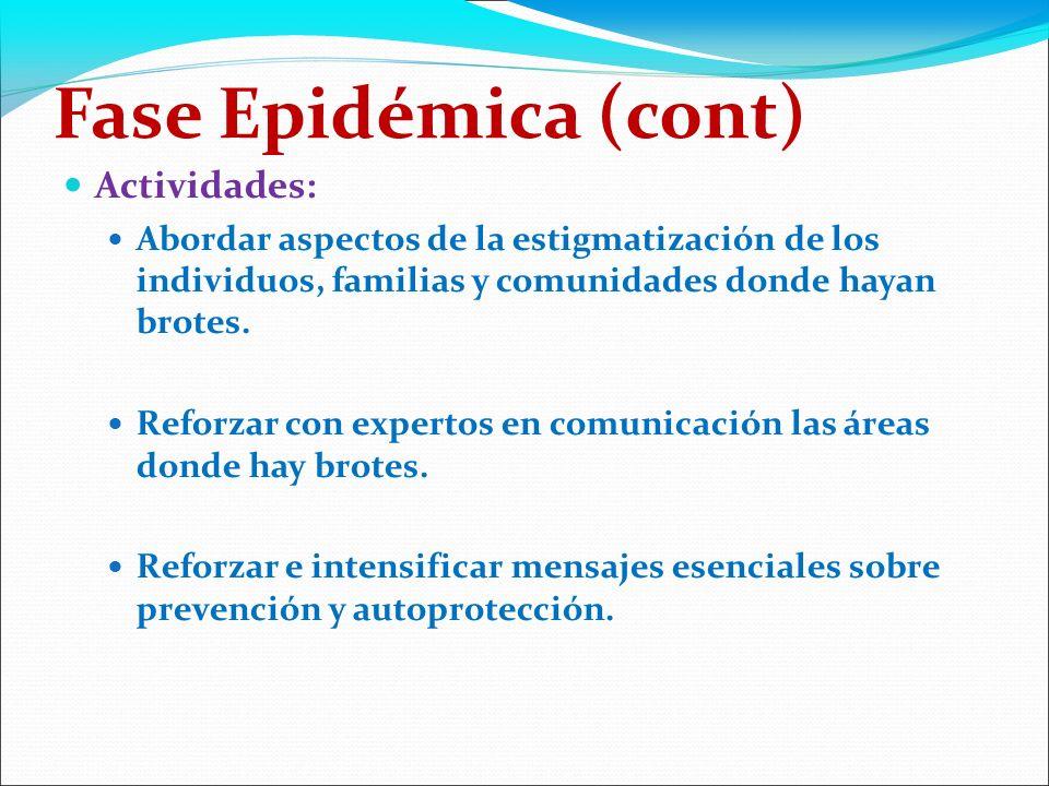 Fase Epidémica (cont) Actividades: Abordar aspectos de la estigmatización de los individuos, familias y comunidades donde hayan brotes.