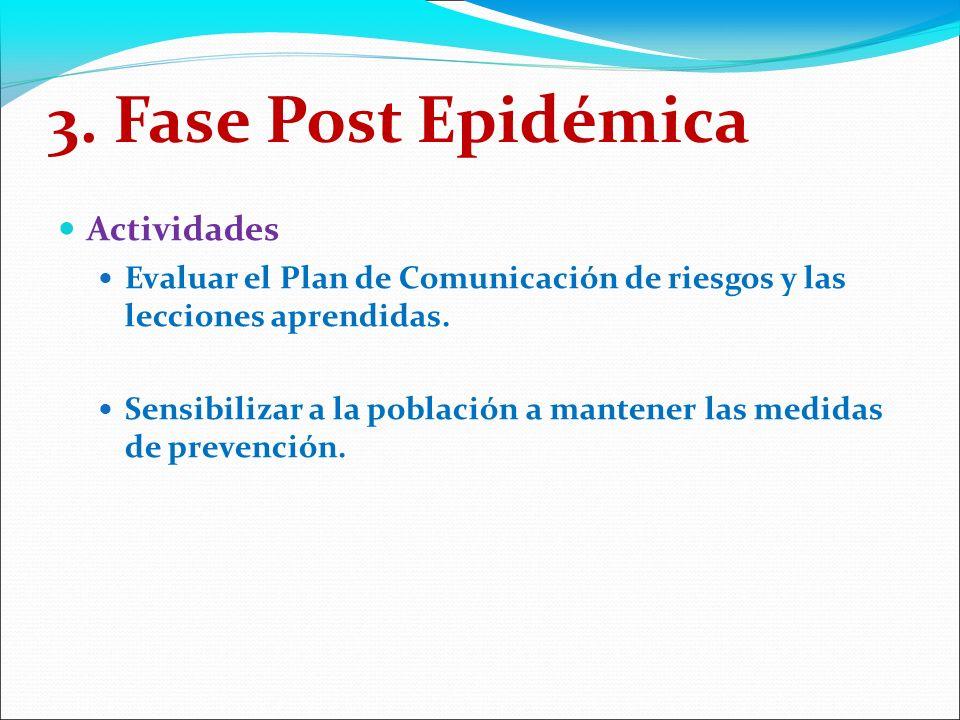 3. Fase Post Epidémica Actividades Evaluar el Plan de Comunicación de riesgos y las lecciones aprendidas. Sensibilizar a la población a mantener las m