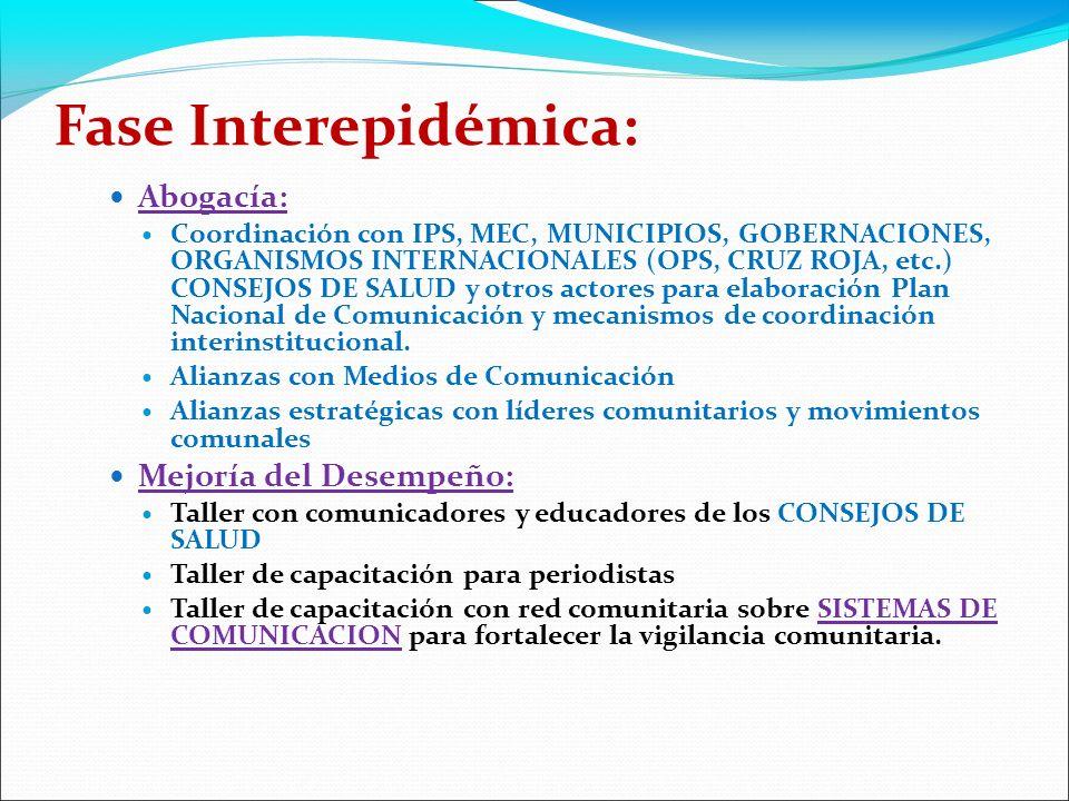 Fase Interepidémica: Abogacía: Coordinación con IPS, MEC, MUNICIPIOS, GOBERNACIONES, ORGANISMOS INTERNACIONALES (OPS, CRUZ ROJA, etc.) CONSEJOS DE SALUD y otros actores para elaboración Plan Nacional de Comunicación y mecanismos de coordinación interinstitucional.