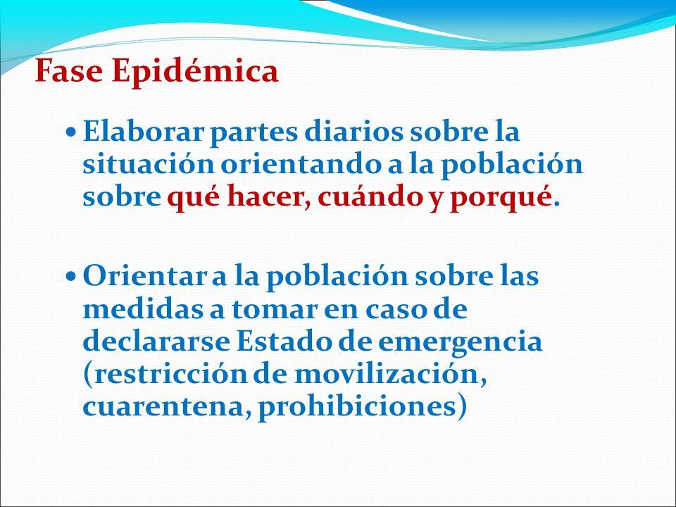 Fase Epidémica Elaborar partes diarios sobre la situación orientando a la población sobre qué hacer, cuándo y porqué.