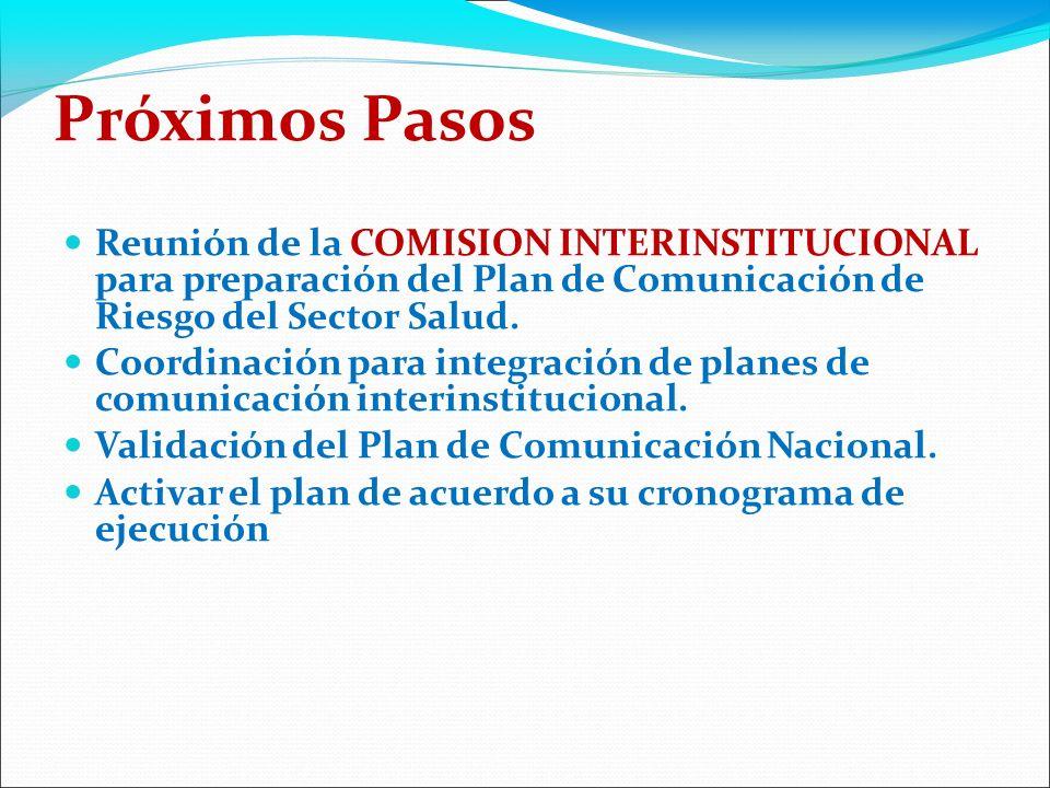 Próximos Pasos Reunión de la COMISION INTERINSTITUCIONAL para preparación del Plan de Comunicación de Riesgo del Sector Salud.