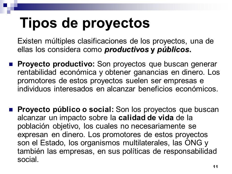 11 Tipos de proyectos productivos y públicos. Existen múltiples clasificaciones de los proyectos, una de ellas los considera como productivos y públic