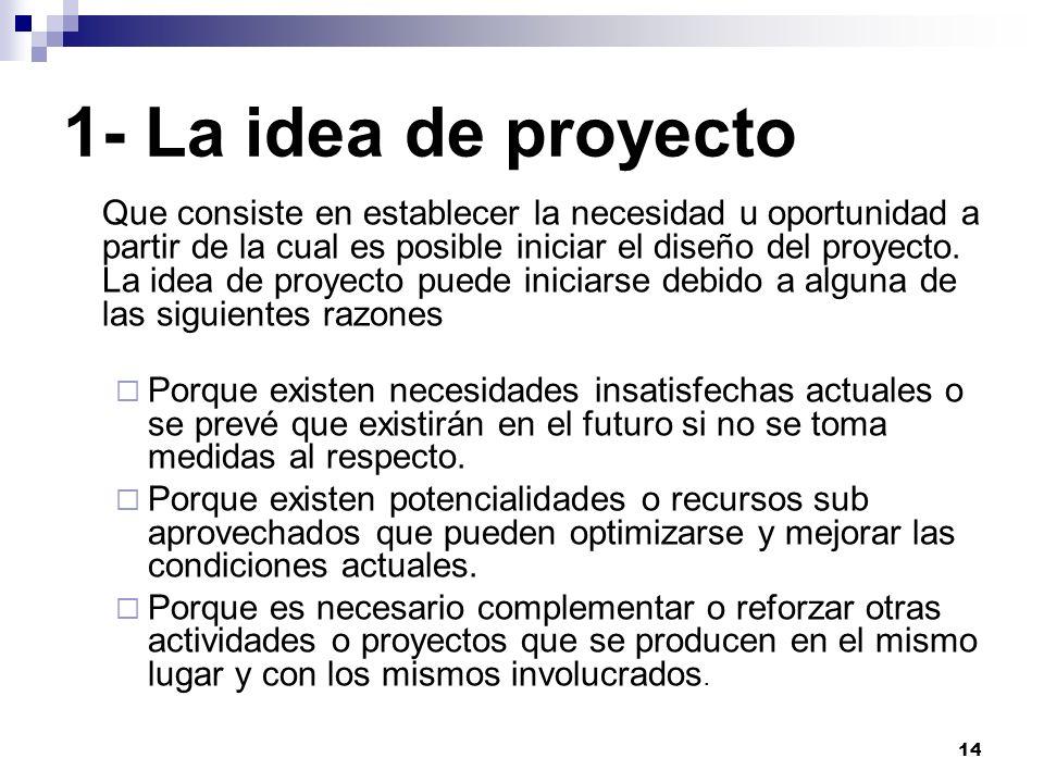 14 1- La idea de proyecto Que consiste en establecer la necesidad u oportunidad a partir de la cual es posible iniciar el diseño del proyecto. La idea