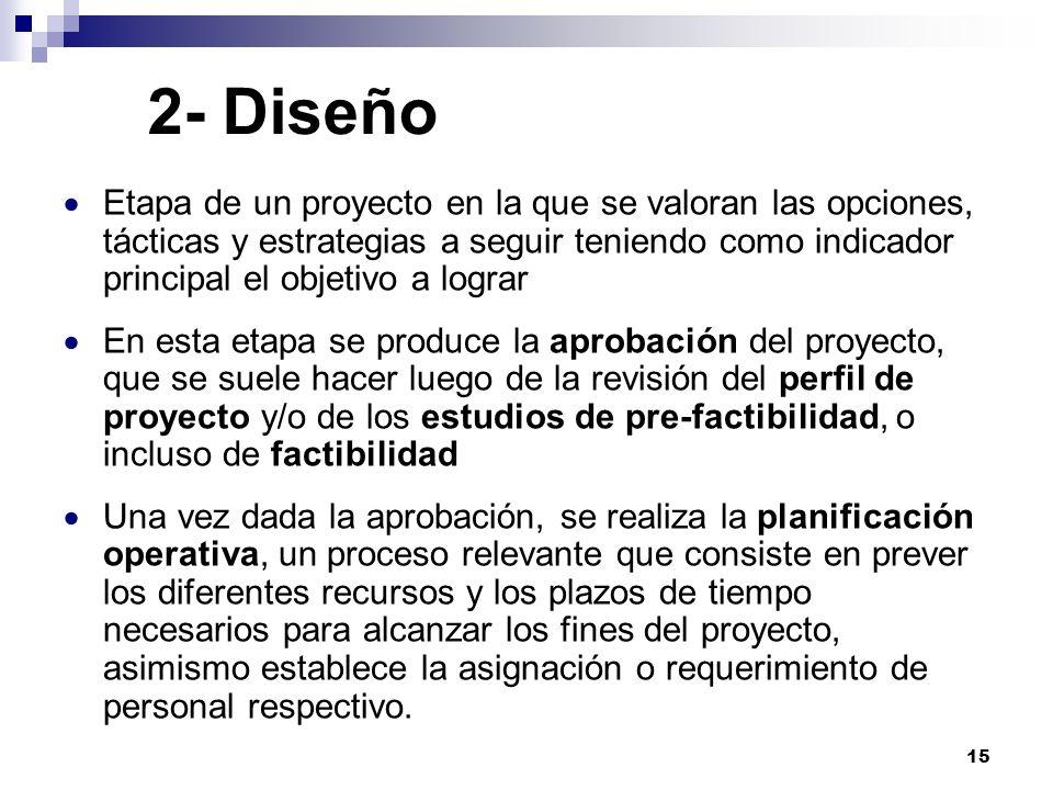 15 2- Diseño Etapa de un proyecto en la que se valoran las opciones, tácticas y estrategias a seguir teniendo como indicador principal el objetivo a l