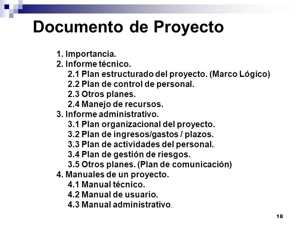 18 Documento de Proyecto 1. Importancia. 2. Informe técnico. 2.1 Plan estructurado del proyecto. (Marco Lógico) 2.2 Plan de control de personal. 2.3 O