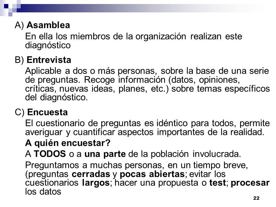 22 A) Asamblea En ella los miembros de la organización realizan este diagnóstico B) Entrevista Aplicable a dos o más personas, sobre la base de una se
