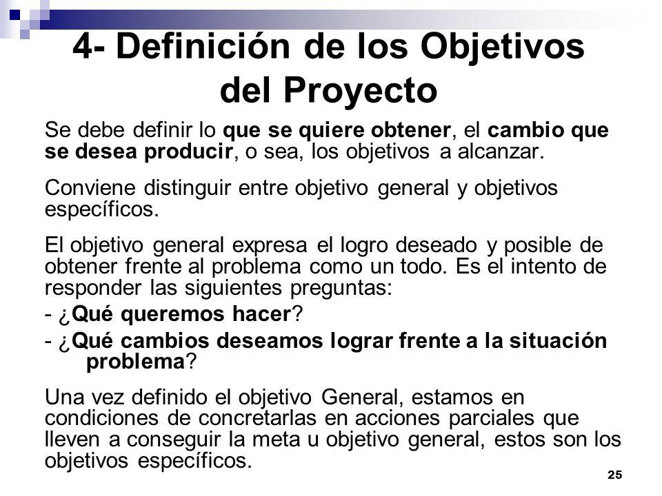 25 4- Definición de los Objetivos del Proyecto Se debe definir lo que se quiere obtener, el cambio que se desea producir, o sea, los objetivos a alcan